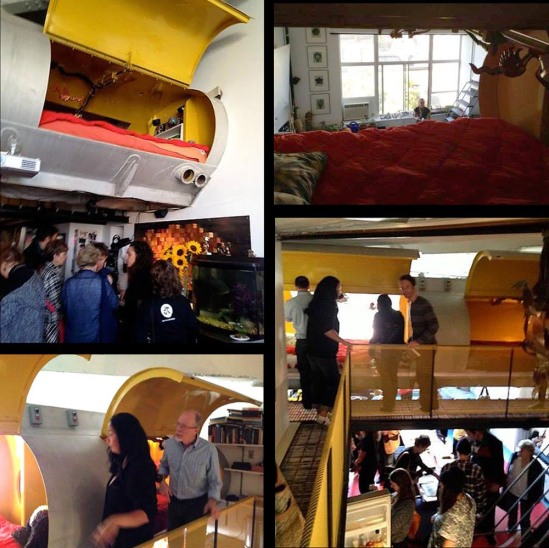 Morton Loft: A tank from a oil truck is hanged and converted to a bed room. モートン邸; 室内に古いタンクローリーのタンクを吊り下げて寝室にしている